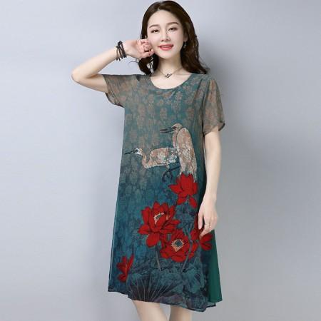 锦骄亨雪纺大码连衣裙·绿/多色