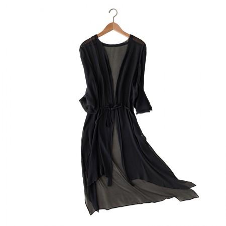 丁摩 真丝开衫披肩桑蚕丝防晒衣·黑色