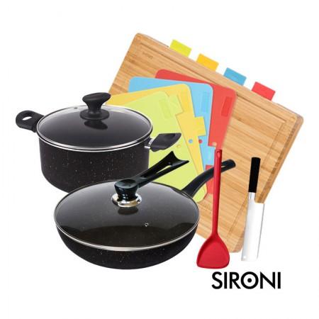 意大利SIRONI 铠甲系列麦饭石厨具套组·厨房4件套