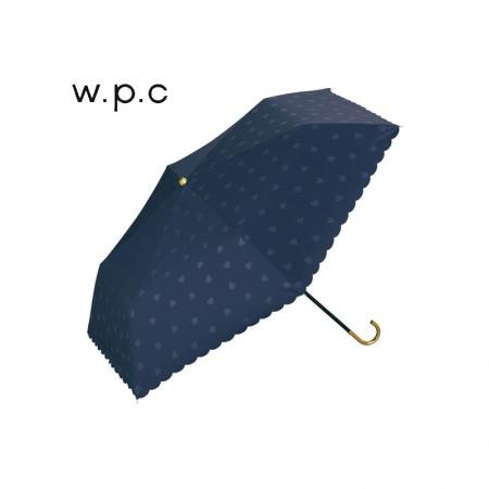 日本直邮 日本wpc 超轻晴雨两用伞便携折叠伞 防紫外线 精美伞套·心形蓝色弯钩