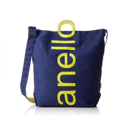 日本直邮 anello 2WAY 反色商标2用大手提包/单肩挎包 帆布休闲包·蓝