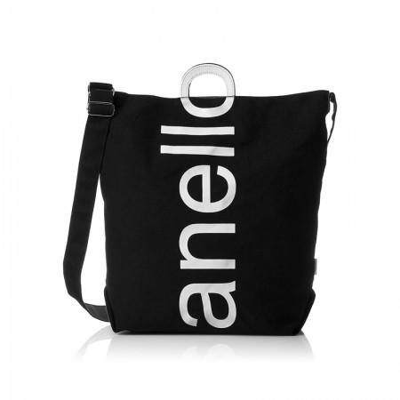 日本直邮 anello 2WAY 反色商标2用大手提包/单肩挎包 帆布休闲包·黑