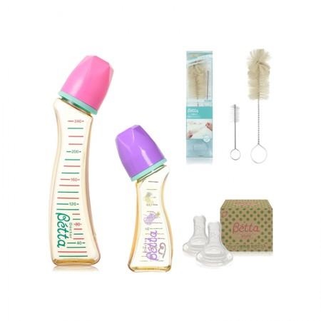 4件装 BETTA JEWEL系列PPSU材质奶瓶2只+奶瓶刷套装+赠O型奶嘴