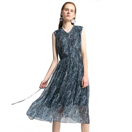 今升 性感V领无袖收腰系带真丝连衣裙·蓝底白花