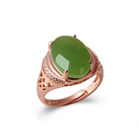 映时银镶嵌优雅碧玉活圈戒指