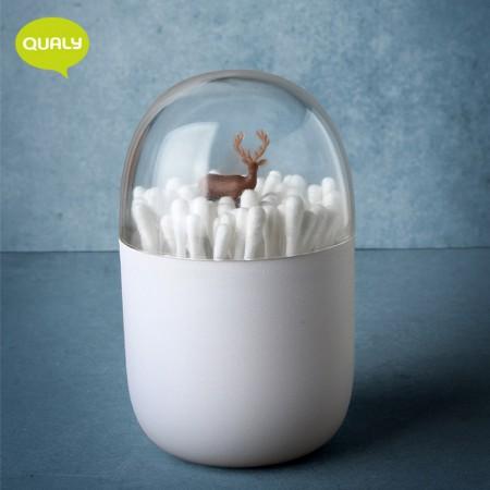 泰国Qualy 进口创意牙签棉签罐·鹿园棉签罐QL10220-BN