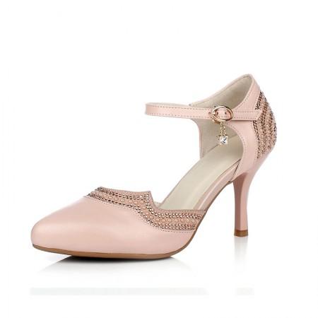 贝奴诗 韩版真皮水钻尖头女鞋细跟高跟鞋浅口凉鞋女·粉色