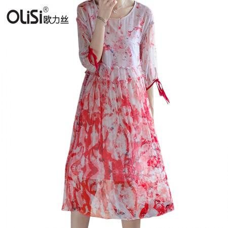 OLISI欧力丝女装连衣裙宽松七分袖印花雪纺连衣裙LGL5069306·红白色