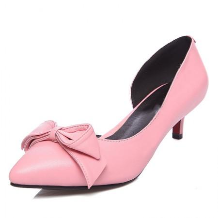贝奴诗 韩版甜美牛皮细跟高跟蝴蝶结浅口尖头单鞋·粉红色
