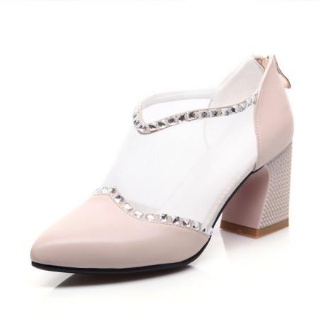 贝奴诗 韩版水钻真皮尖头中跟鞋网纱粗跟单鞋透气女鞋·米白色