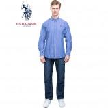 u.s.polo assn.(美国马球协会)美式长袖衬衫 深蓝条·男