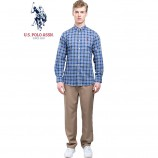 u.s.polo assn.(美国马球协会)美式长袖衬衫 蓝底白黑格·男