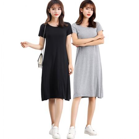 SEERUU适语 莫代尔Bra-T短袖家居连衣裙两件组 加赠高腰冰丝安全裤2条