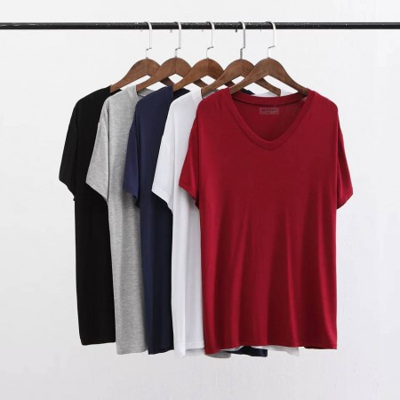 超舒适莫代尔纯色透气V领T恤 三件组·蓝+白+(新品尝新价 限时抢购)