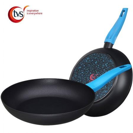 意大利TVS 萤火平底锅煎锅  不粘锅 26cm 通用炉具·蓝黑色
