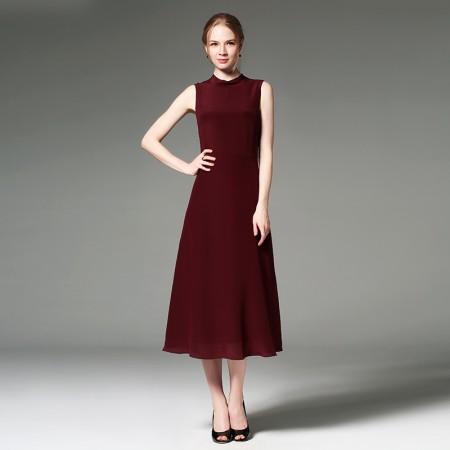 墨枝 长款纯色无袖收腰桑蚕丝连衣裙·暗红