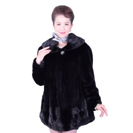 艾菲爱得进口整貂中长款裘皮外套·黑色