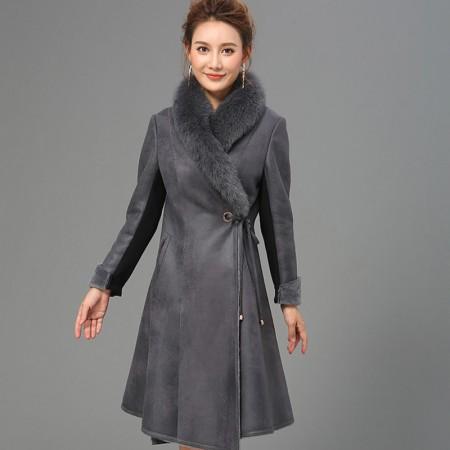 艾菲爱得进口蓝狐毛领中长款长外套·黑色