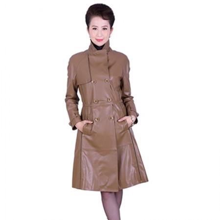 艾菲爱得头层绵羊皮双排扣风衣·棕色