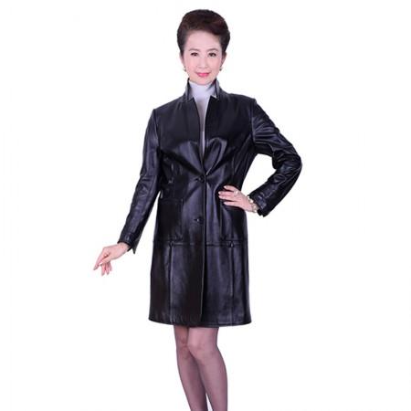 艾菲爱得头层绵羊皮立领两用风衣·黑色