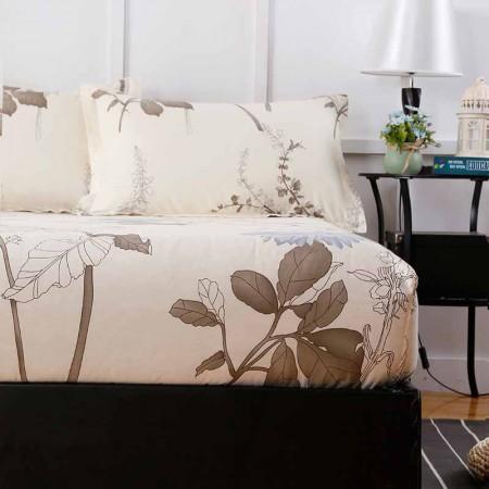 一梦 新款纯棉印花床笠 150*200+30cm 送一对枕套·似水流年
