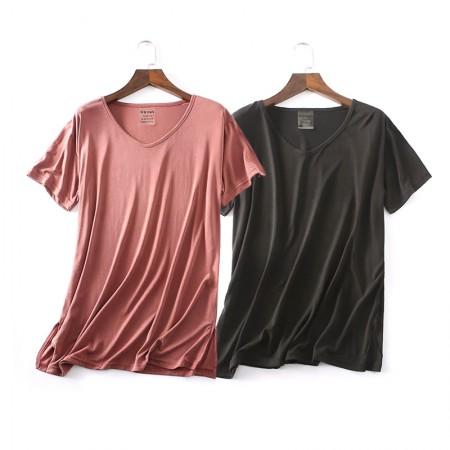 适语 铜氨丝加大短袖休闲宽松T恤2件组·两色