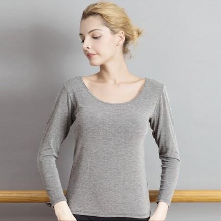 适语 纯棉带胸垫一体式长袖打底T恤·灰色