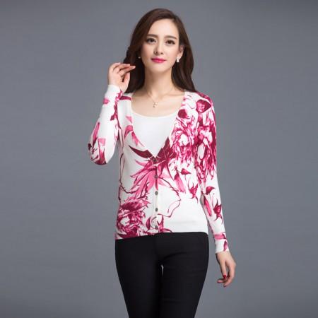 丝朵之丽 时尚印花长袖针织衫(多色)·红色叶子