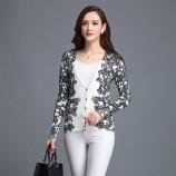 丝朵之丽 时尚印花长袖针织衫(多色)·黑白撞色