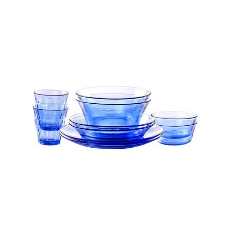 法国Duralex多莱斯 欧式餐具杯碗盘碟套装 2人10件套 浅蓝色