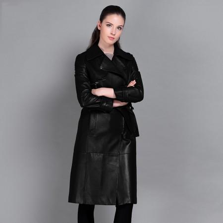 今升 西装领收腰绵羊皮真皮皮风衣长款外套(配腰带)·黑色