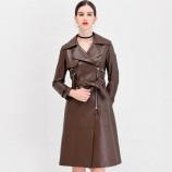 今升 西装领收腰绵羊皮真皮皮风衣长款外套(配腰带)·棕色