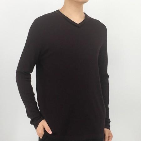 恒源祥Fazeya男士100羊毛高端V领衫07160030·深紫