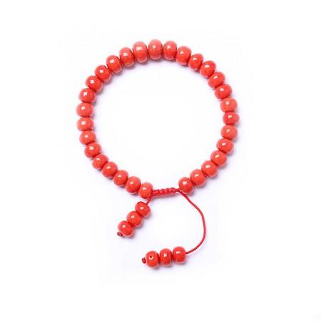 映时红珊瑚桶珠单圈手串