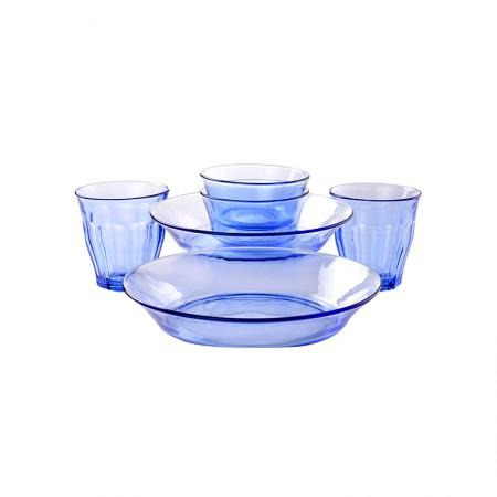 法国Duralex多莱斯 欧式餐具杯碗盘碟套装 2人6件套 浅蓝色