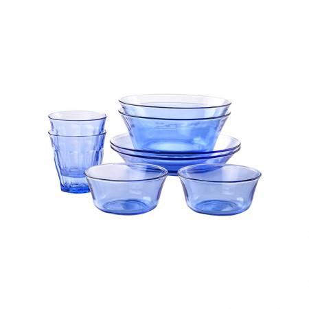 法国Duralex多莱斯 欧式餐具杯碗盘碟套装 2人8件套 浅蓝色