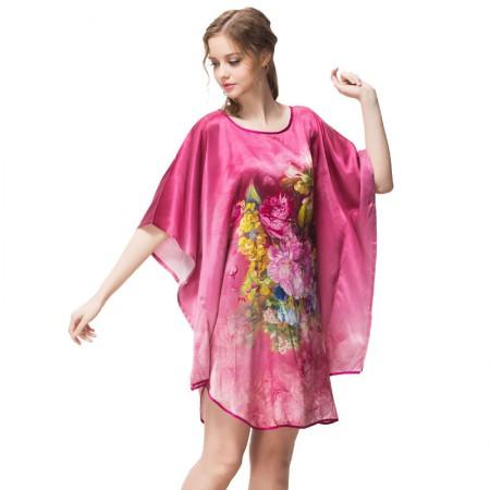 绮瑞 100重磅真丝高贵牡丹蝙蝠衫裙·红色