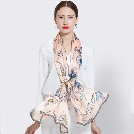 欧美时尚女士印花桑蚕丝缎面围巾·粉色