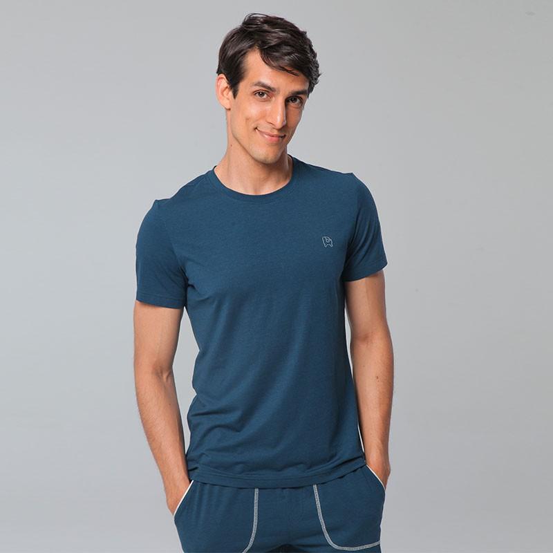 恒源祥Fazeya 男士圆领夏日分体式短裤家居套组CY5502·深蓝色