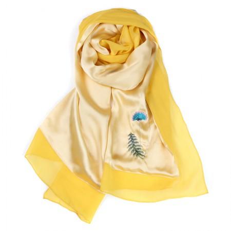 丁摩 苏绣手工刺绣重磅真丝丝巾长款披肩·蒲公英