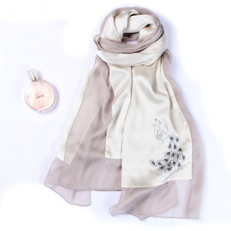 丁摩 苏绣手工刺绣重磅真丝丝巾长款披肩·孔雀