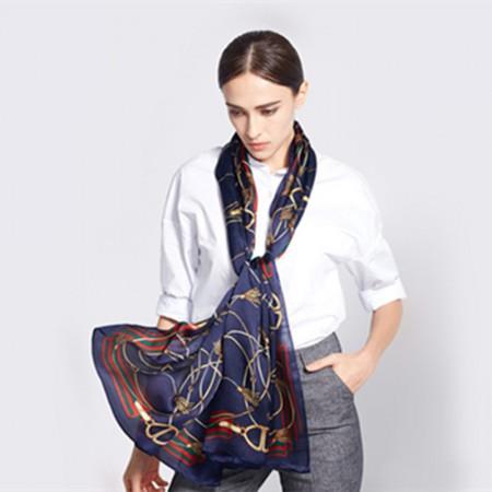 时尚桑蚕丝围巾·藏青色