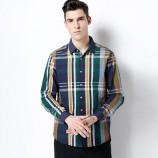 莱恩雷迪舒适全棉时尚格子青春修身春秋款男士长袖衬衫203552918·黄绿格