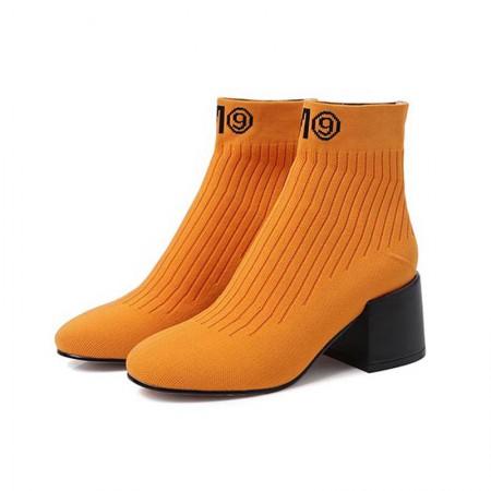 奈绮儿 针织毛线粗高跟透气短靴女靴 YMH-C127·黄色单里