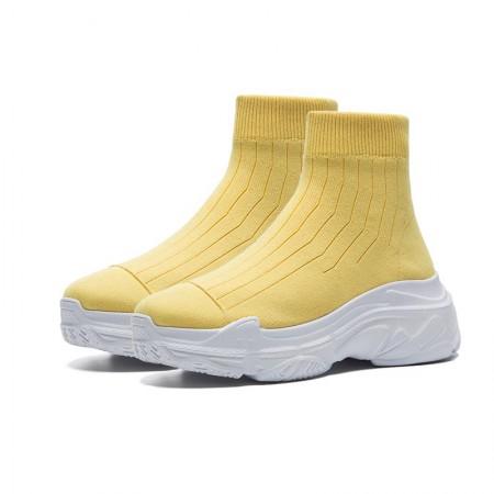 奈绮儿 针织松糕圆头运动短靴女靴 HYDD-W116·黄色