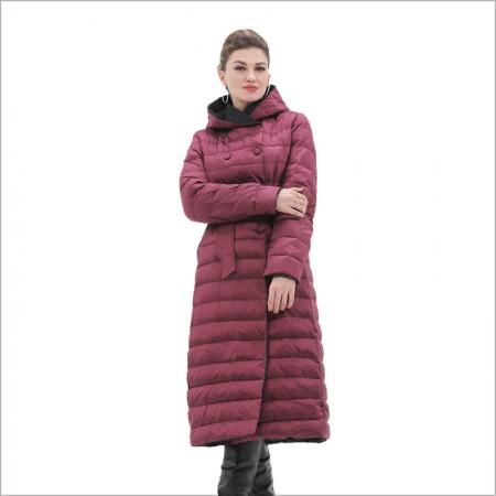 法国洛卡曼90%白鹅绒长款羽绒服(两面穿)·酒红色