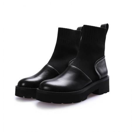 奈绮儿粗跟马丁靴短靴弹力袜鞋女鞋子- HDCZ-S3318·黑色