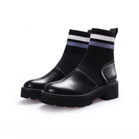 奈绮儿粗跟马丁靴短靴弹力袜鞋女鞋子- HDCZ-S3318·蓝色