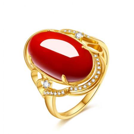 大东山阿卡珊瑚18K金钻石戒指