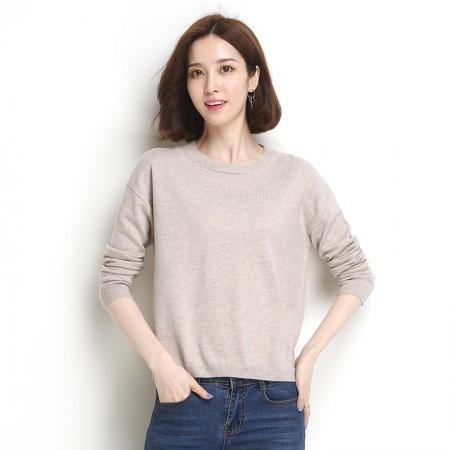 墨枝 圆领套头短款针织衫打底百搭羊毛衫(两色可选,M90079028)·浅糖米